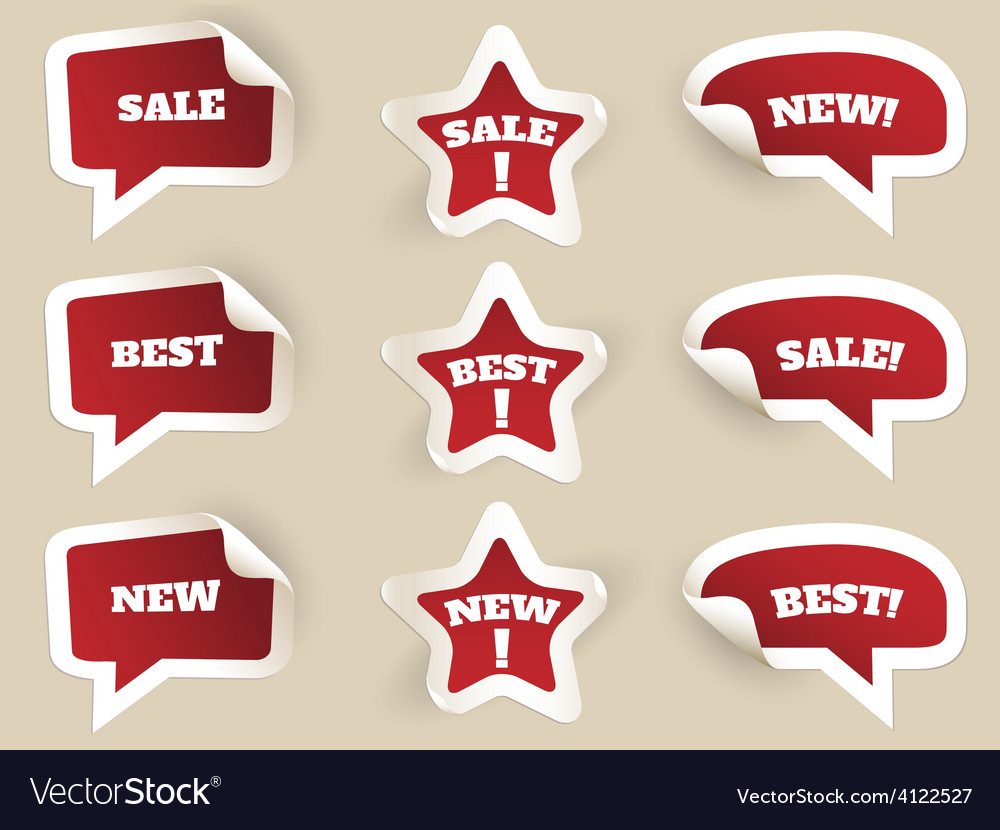 Red labels new best and sale vector | Price: 1 Credit (USD $1)