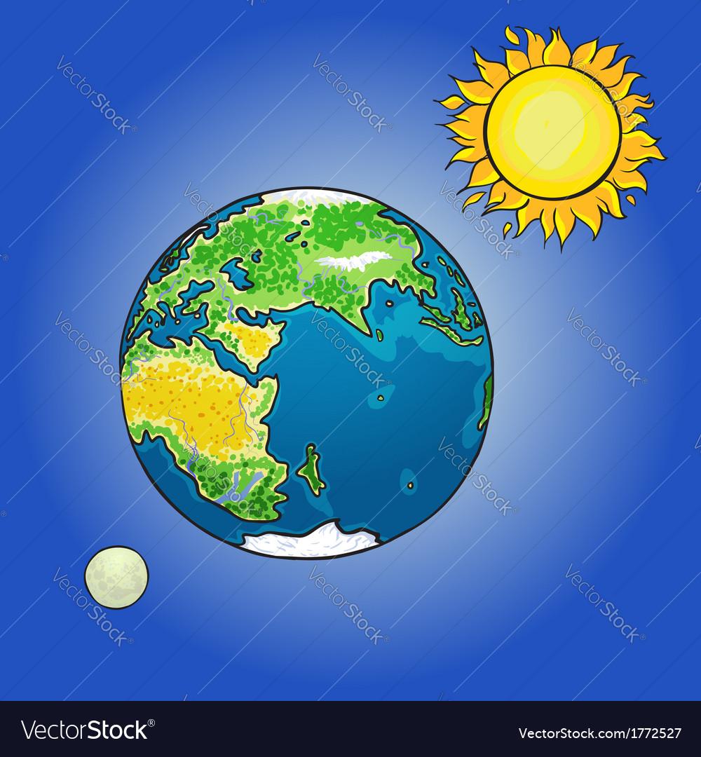 The sun moon earth vector | Price: 1 Credit (USD $1)