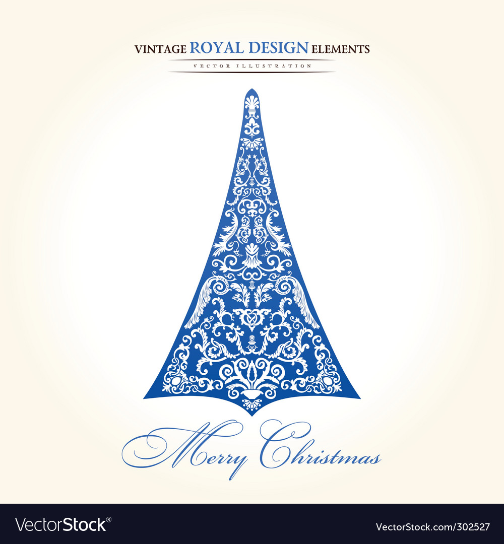 Vintage christmas tree blue vector | Price: 1 Credit (USD $1)