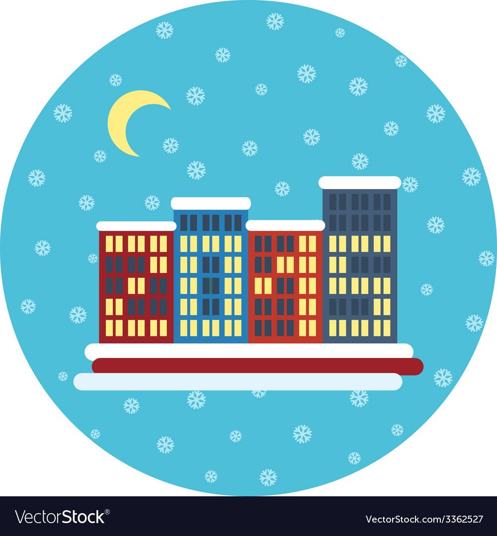 Winter city landscape with buildings christmas vector   Price: 1 Credit (USD $1)