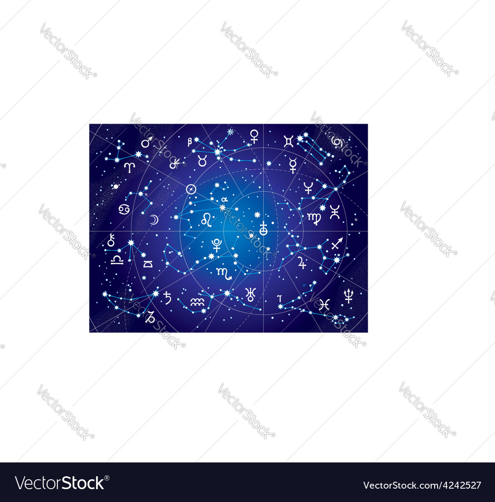 Xii constellations of zodiac blueprint version vector