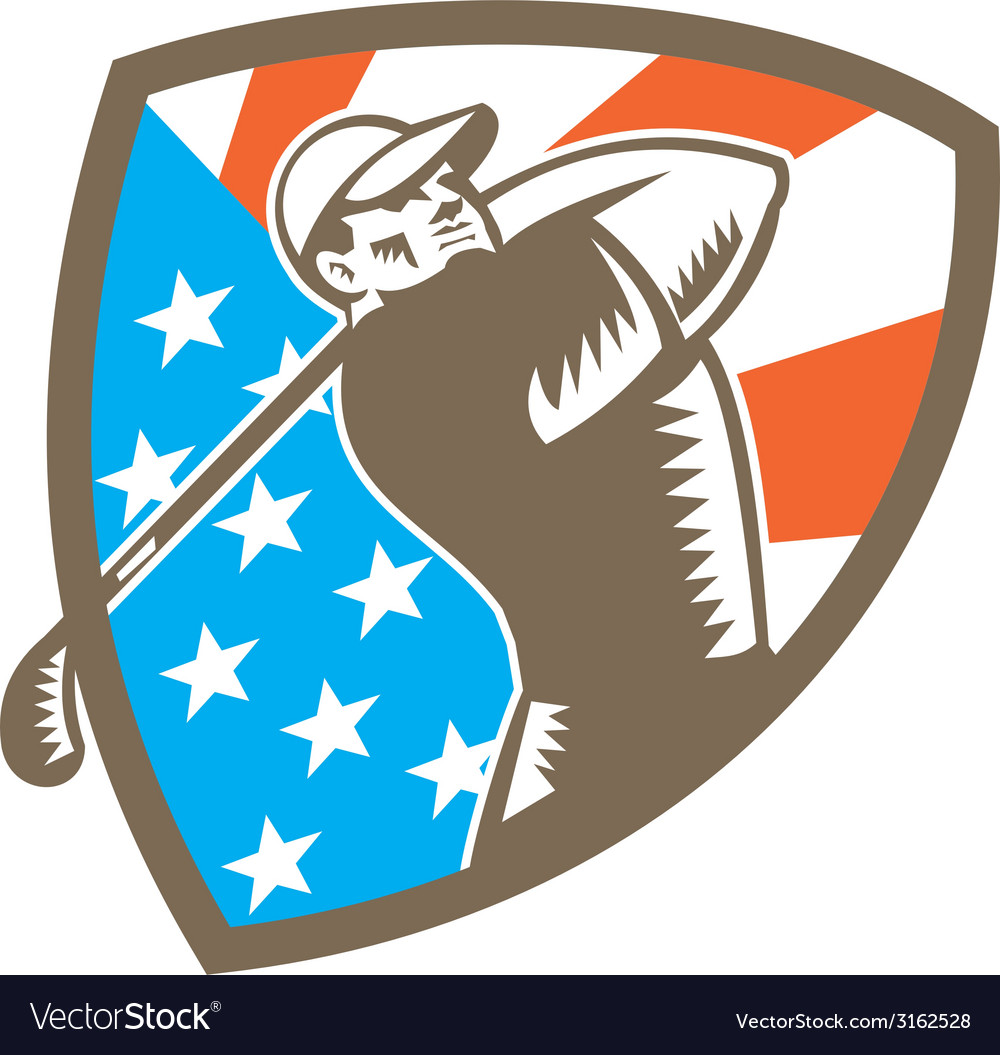 American golfer tee off golf shield woodcut vector | Price: 1 Credit (USD $1)