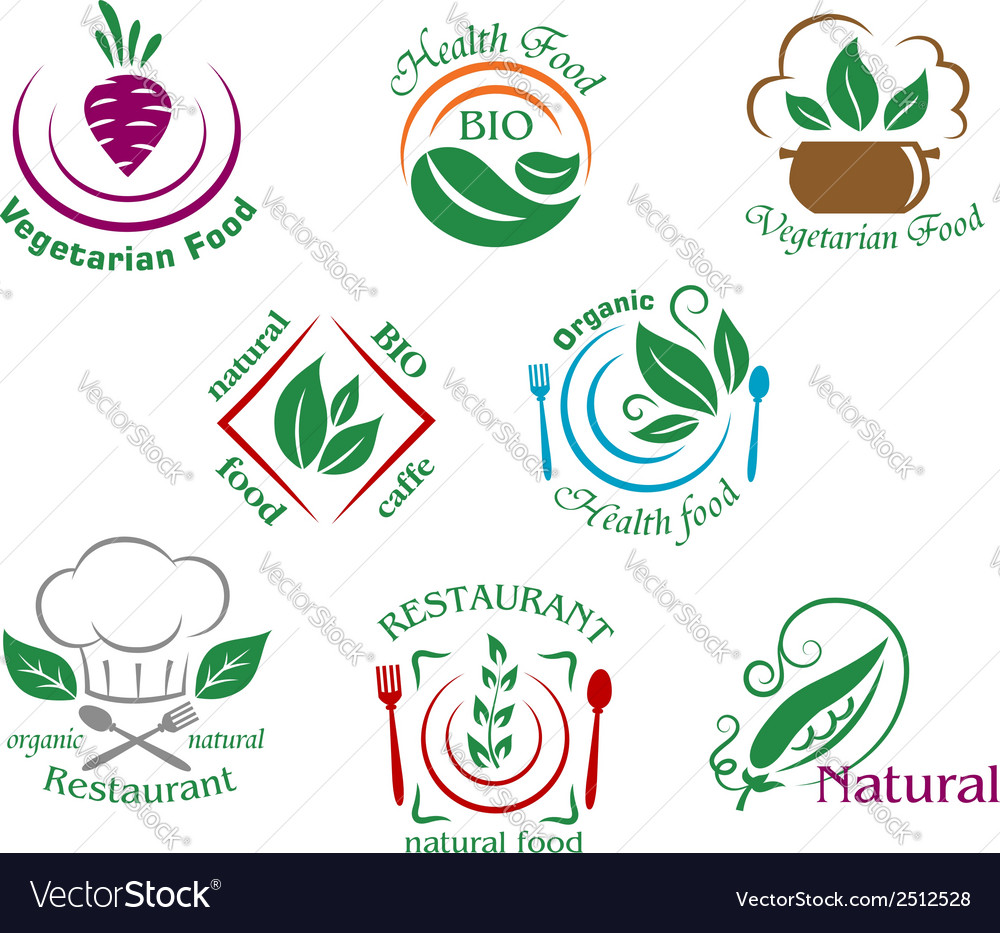 Assorted restaurant and vegetarian food symbols or vector | Price: 1 Credit (USD $1)
