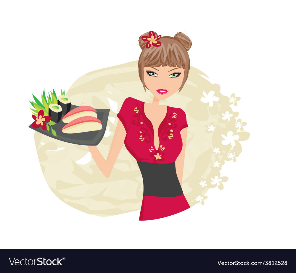 Beautiful asian girl enjoy sushi vector | Price: 1 Credit (USD $1)