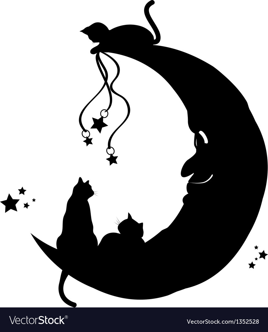 Cats on the moon vector | Price: 1 Credit (USD $1)