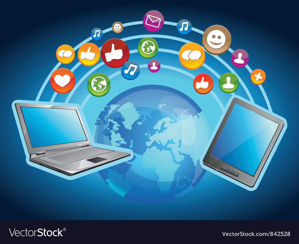 Concept - mobile computers and social media vector | Price: 3 Credit (USD $3)