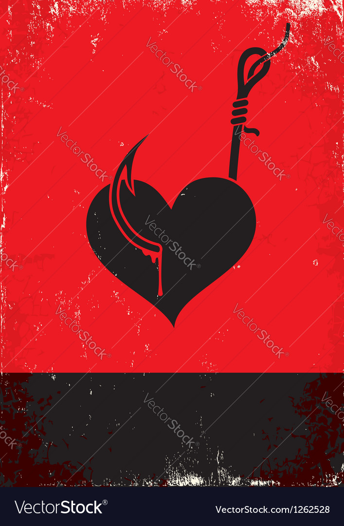 Heart on a hook vector