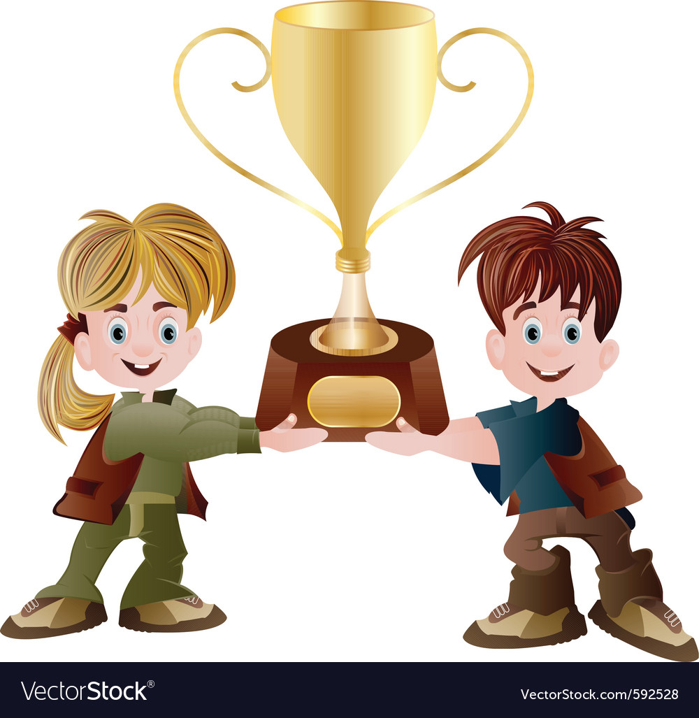 Kids holding trophy vector | Price: 3 Credit (USD $3)