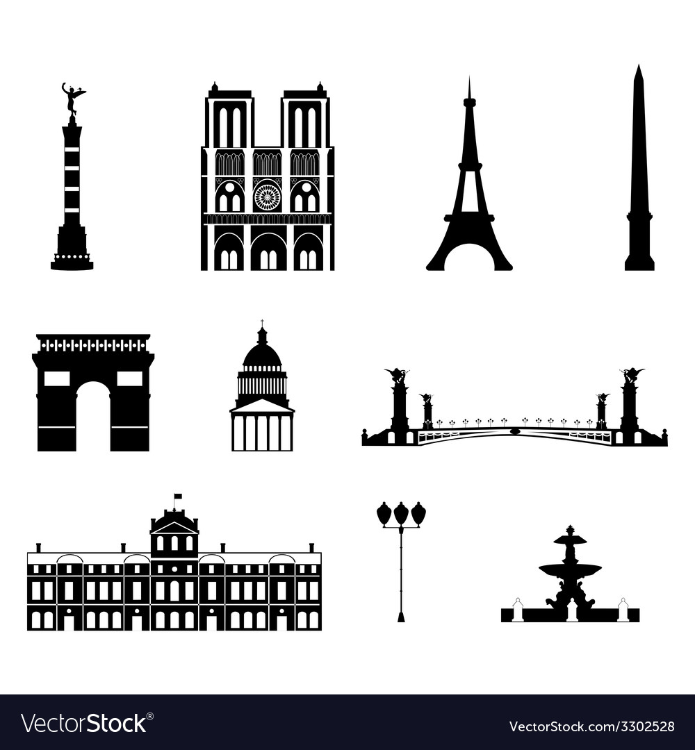 Landmarks of paris vector | Price: 1 Credit (USD $1)