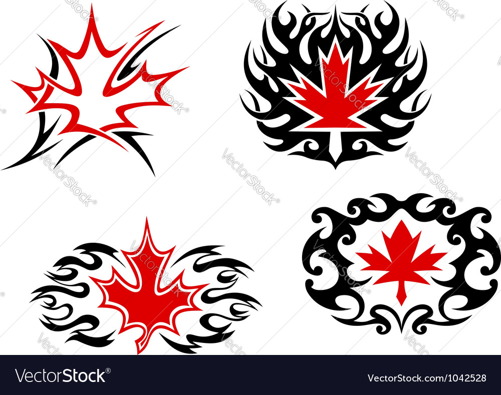 Maple leaf mascots and symbols vector | Price: 1 Credit (USD $1)