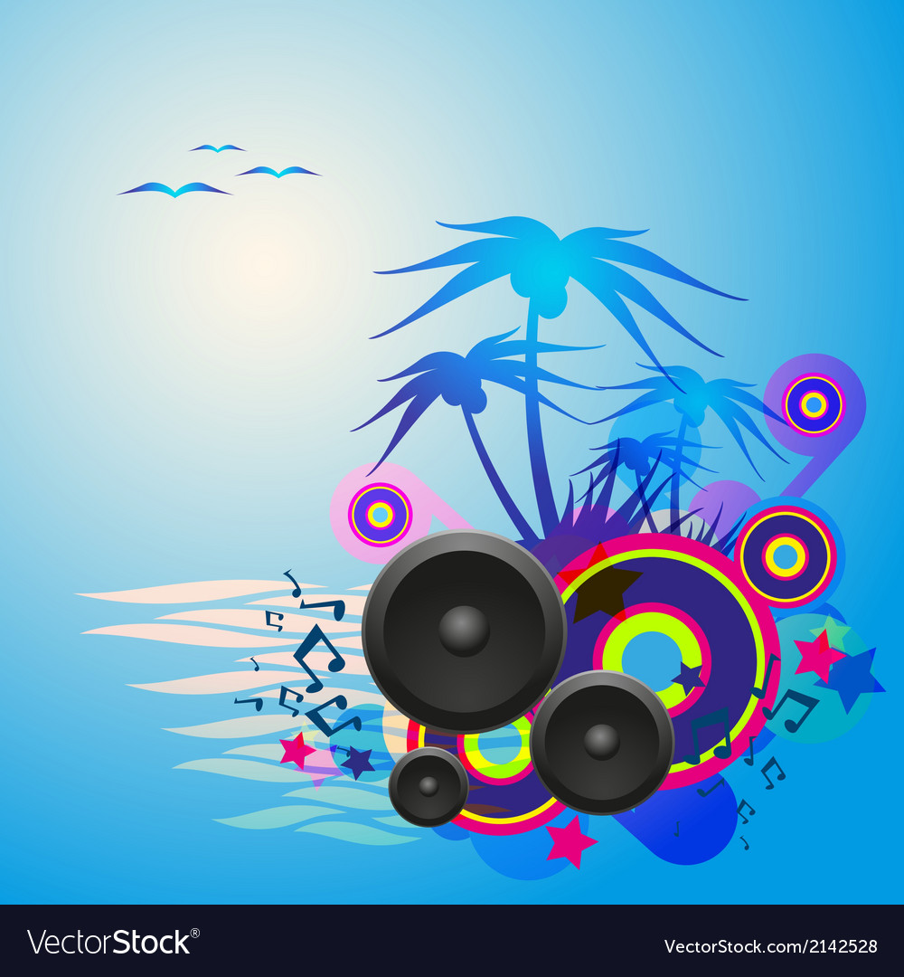 Night disco dance tropical music flyer vector | Price: 1 Credit (USD $1)