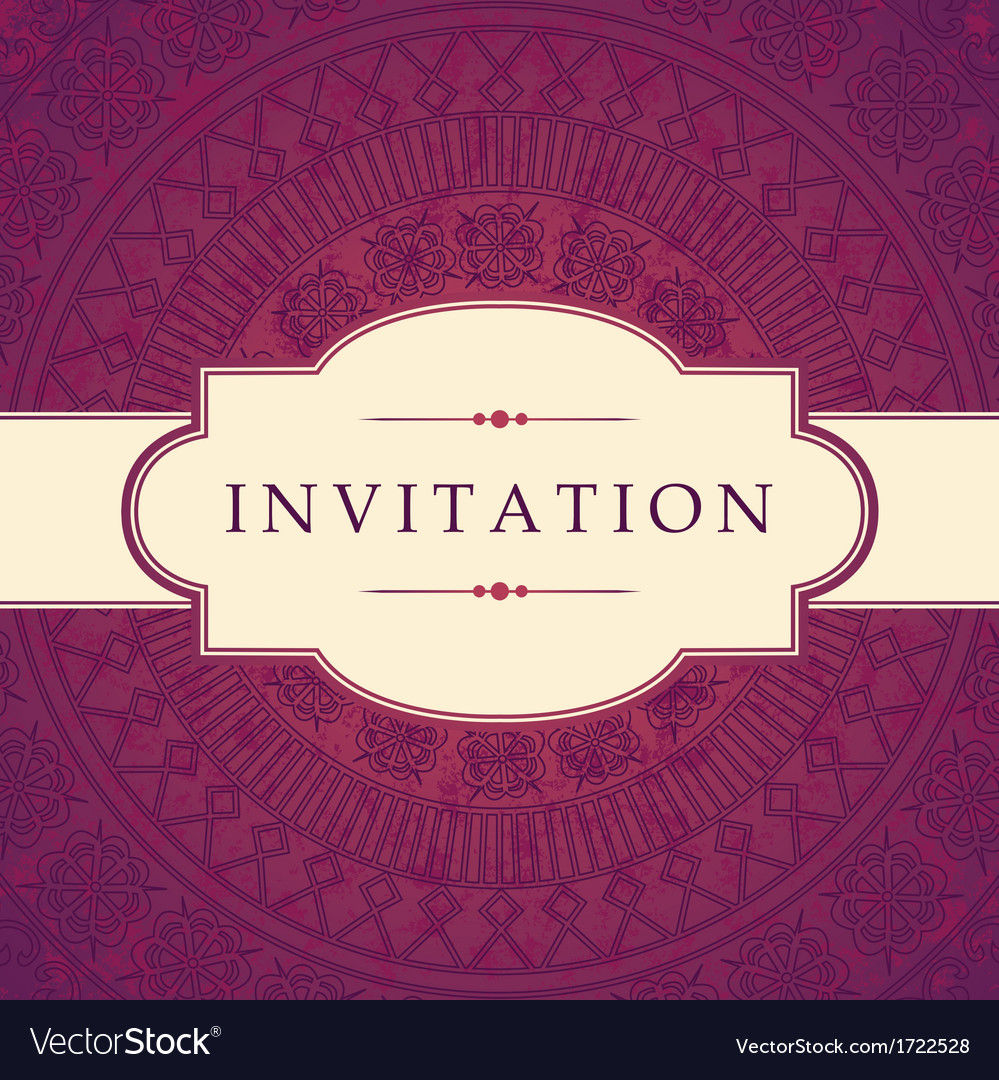 Ornate invitation design vector | Price: 1 Credit (USD $1)