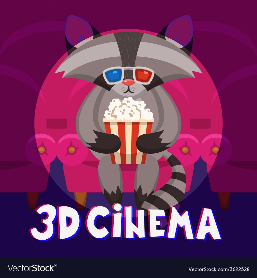 Raccoon cinema poster vector | Price: 1 Credit (USD $1)