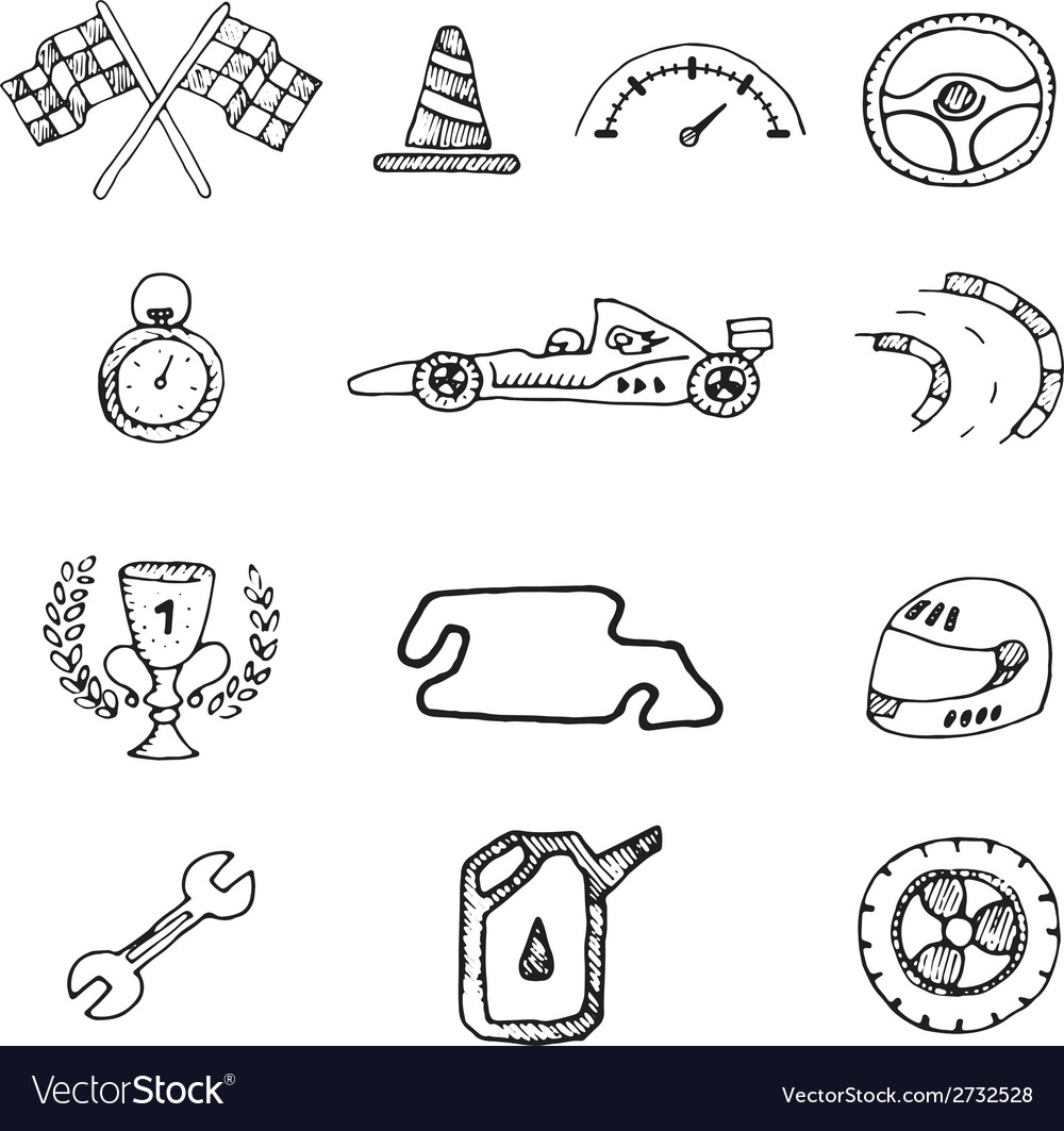 Racing icons in a drawing style vector | Price: 1 Credit (USD $1)