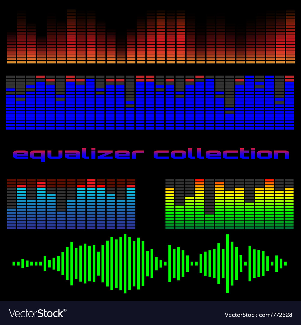 Set of colored equalizers vector | Price: 1 Credit (USD $1)