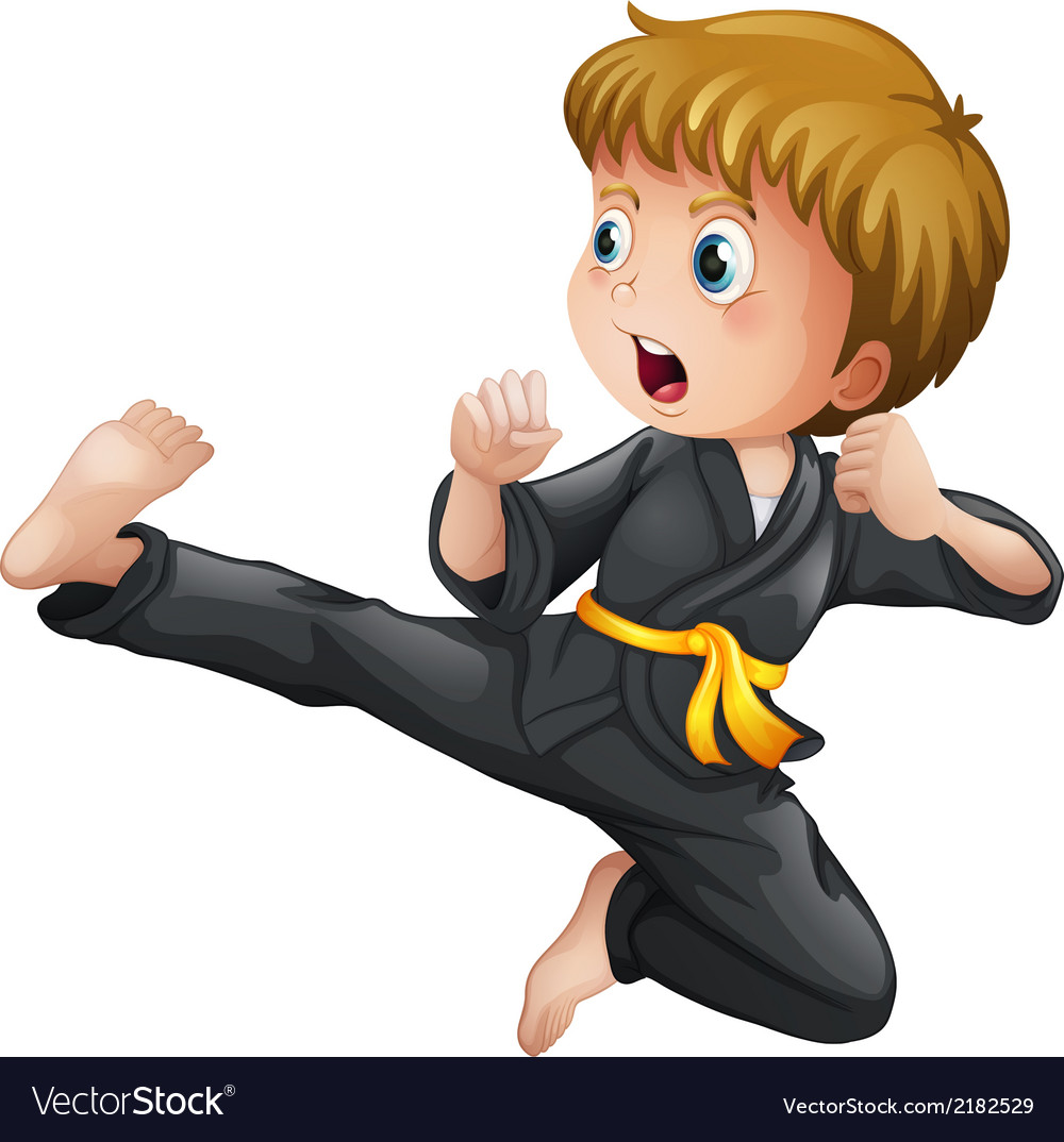 A young boy showing his karate moves vector | Price: 1 Credit (USD $1)
