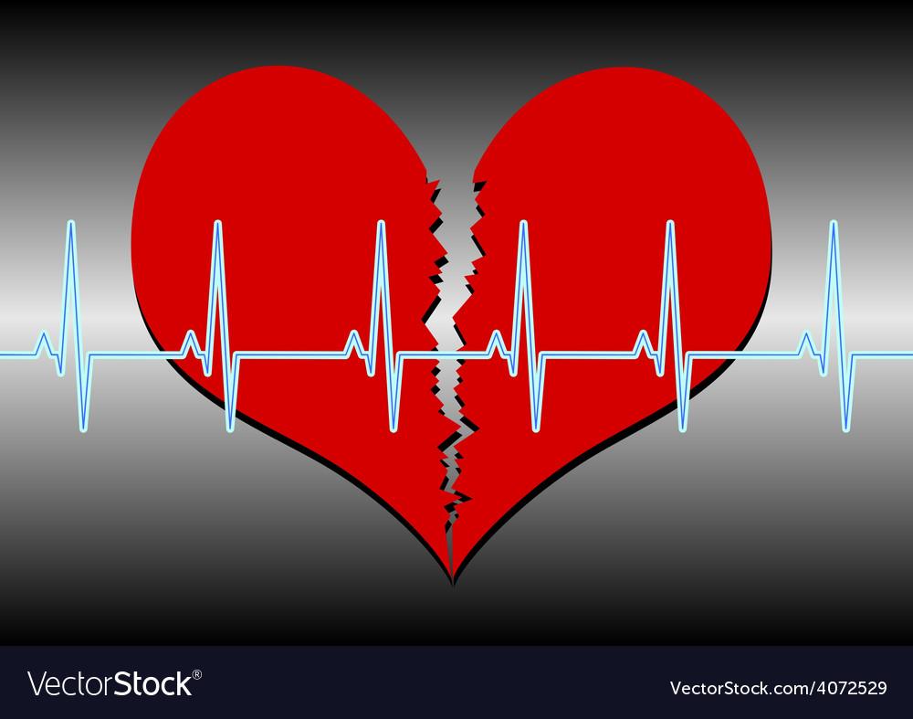Broken heart cardiogram blue vector | Price: 1 Credit (USD $1)