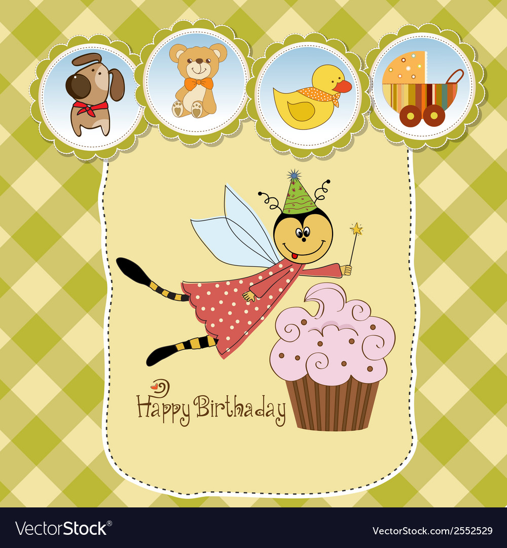 Childish birthday card with funny dressed bee vector | Price: 1 Credit (USD $1)