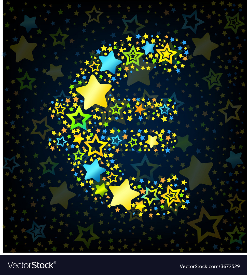 Euro sign cartoon star colored vector   Price: 1 Credit (USD $1)