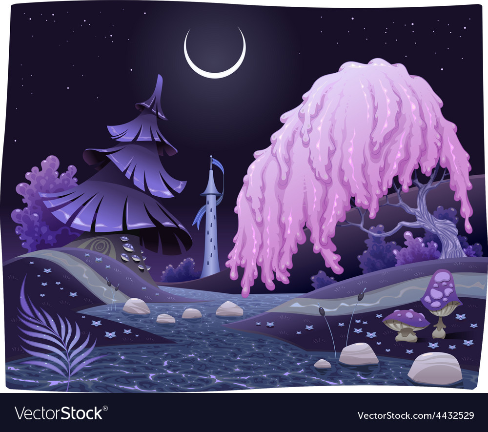 Fantasy nightly landscape on the riverside vector | Price: 5 Credit (USD $5)