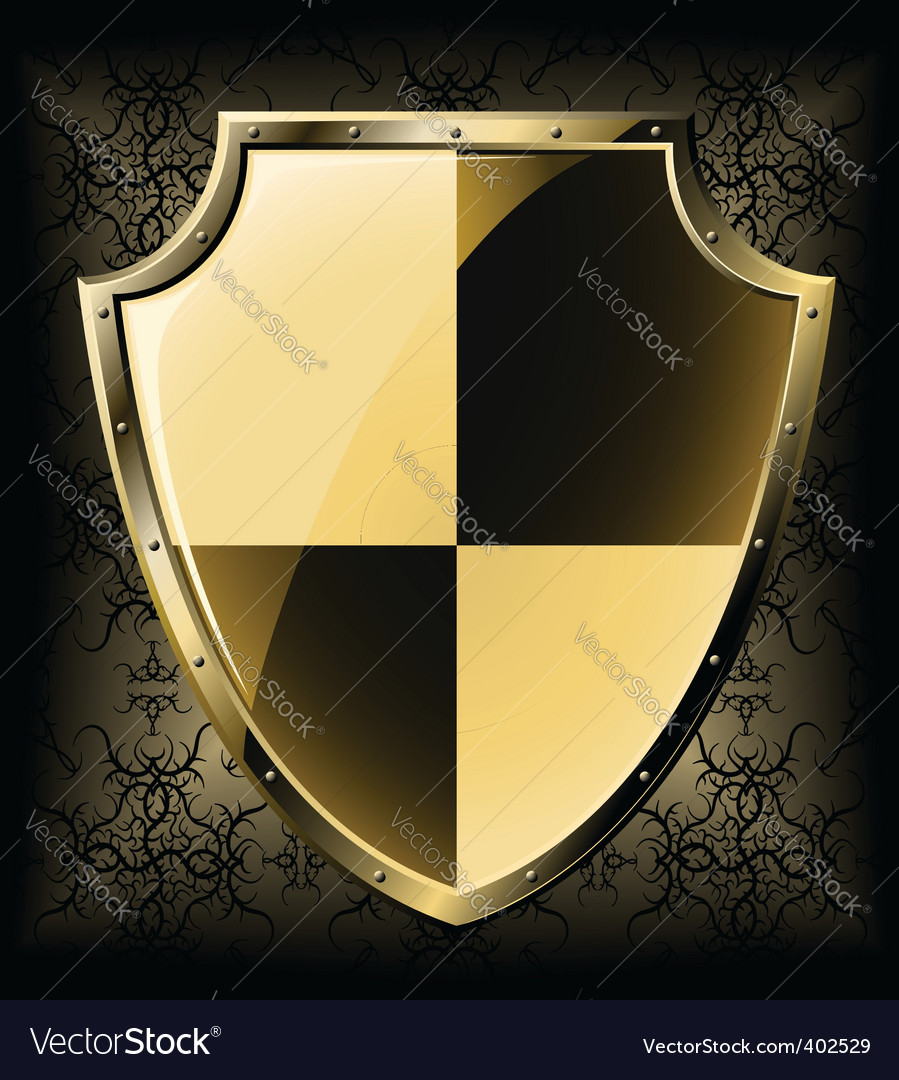 Gold shield over seamless background vector | Price: 1 Credit (USD $1)