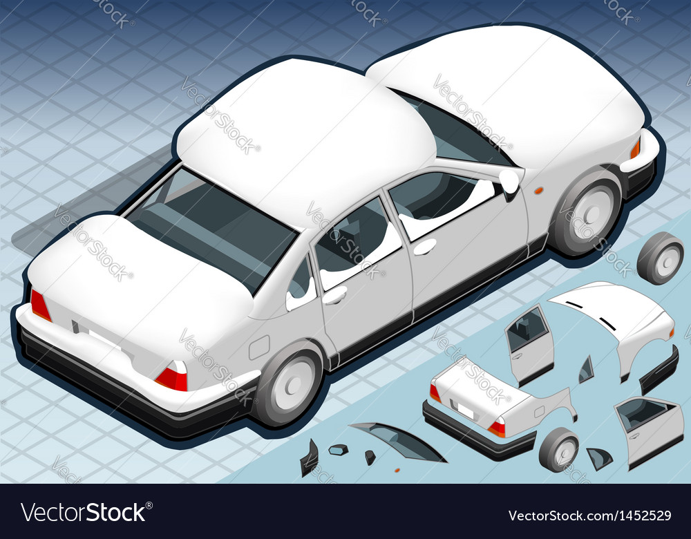 Isometric snow capped white car in rear view vector | Price: 1 Credit (USD $1)
