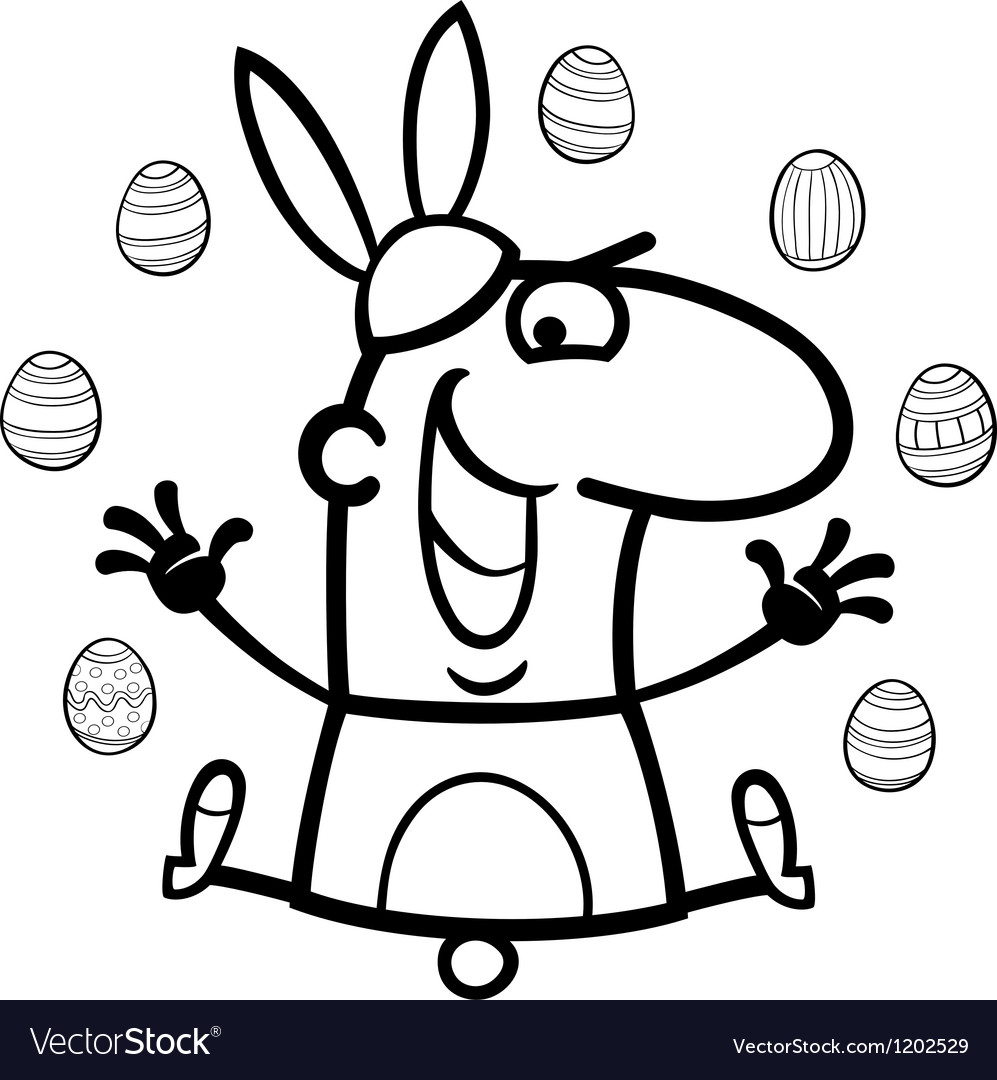 Man as easter bunny cartoon for coloring vector | Price: 1 Credit (USD $1)