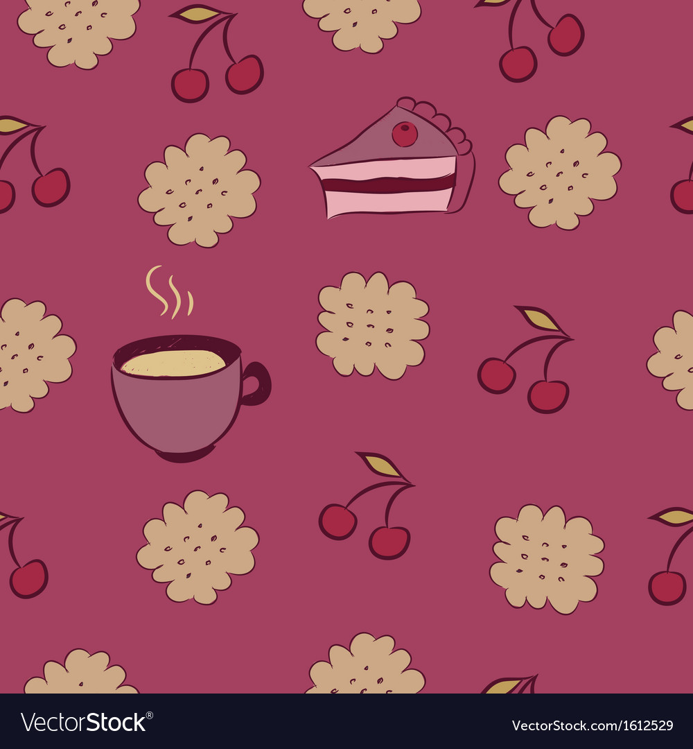 Seamless pattern with cakes cherry and coffee vector | Price: 1 Credit (USD $1)