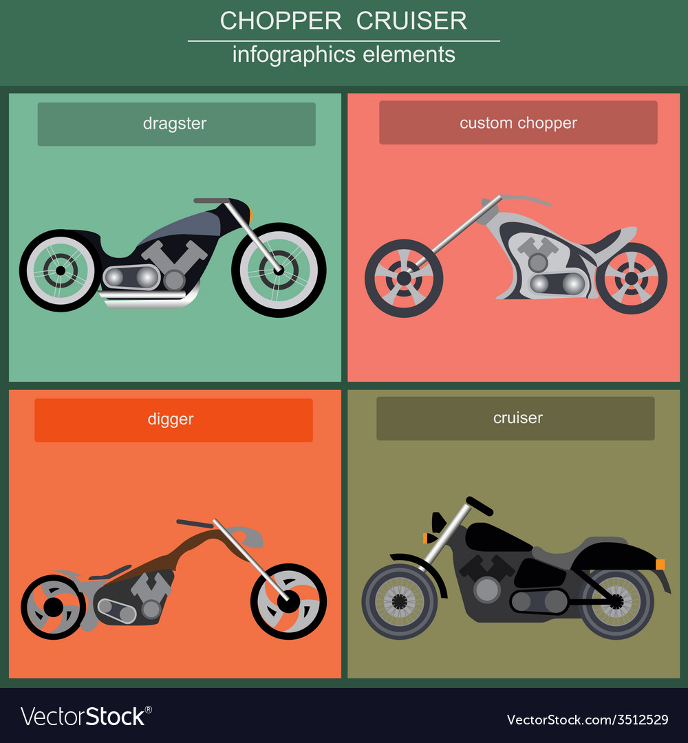Set of elements choppers cruisers vector | Price: 1 Credit (USD $1)