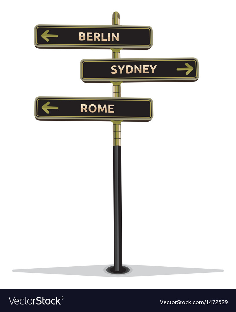 Street sign showing cities vector | Price: 1 Credit (USD $1)
