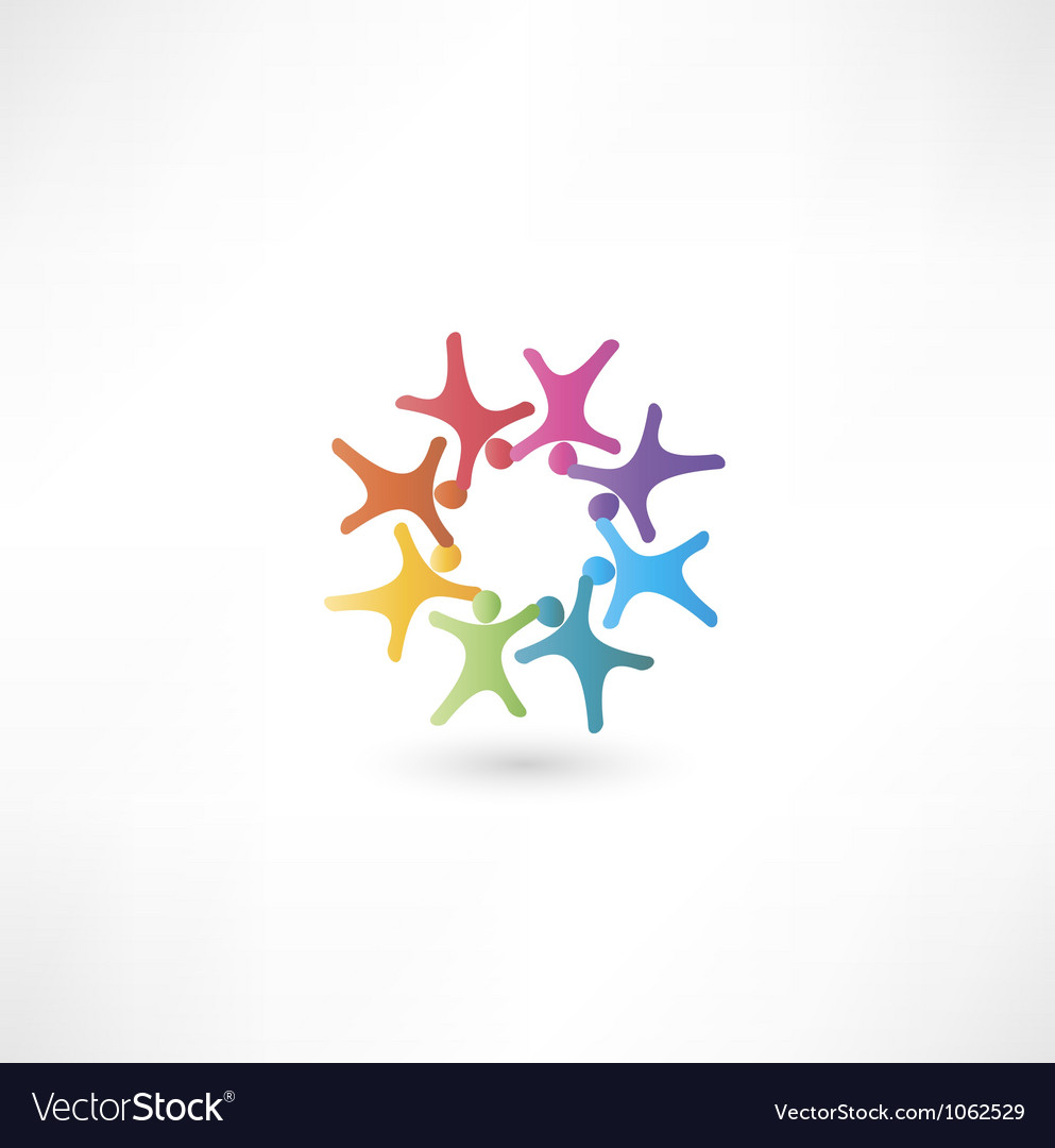 Team symbol multicolored people vector | Price: 1 Credit (USD $1)