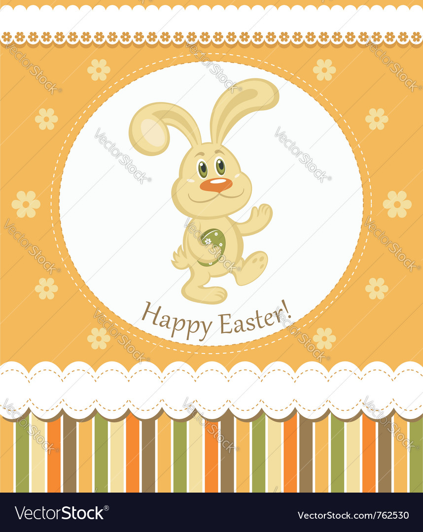 Easter bunny greeting card vector | Price:  Credit (USD $)