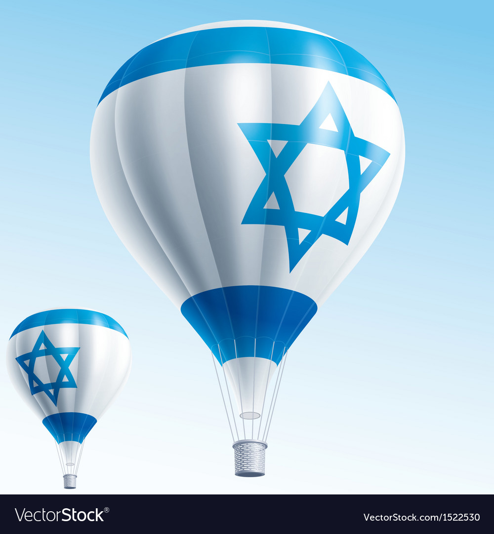 Hot balloons painted as israel flag vector | Price: 3 Credit (USD $3)