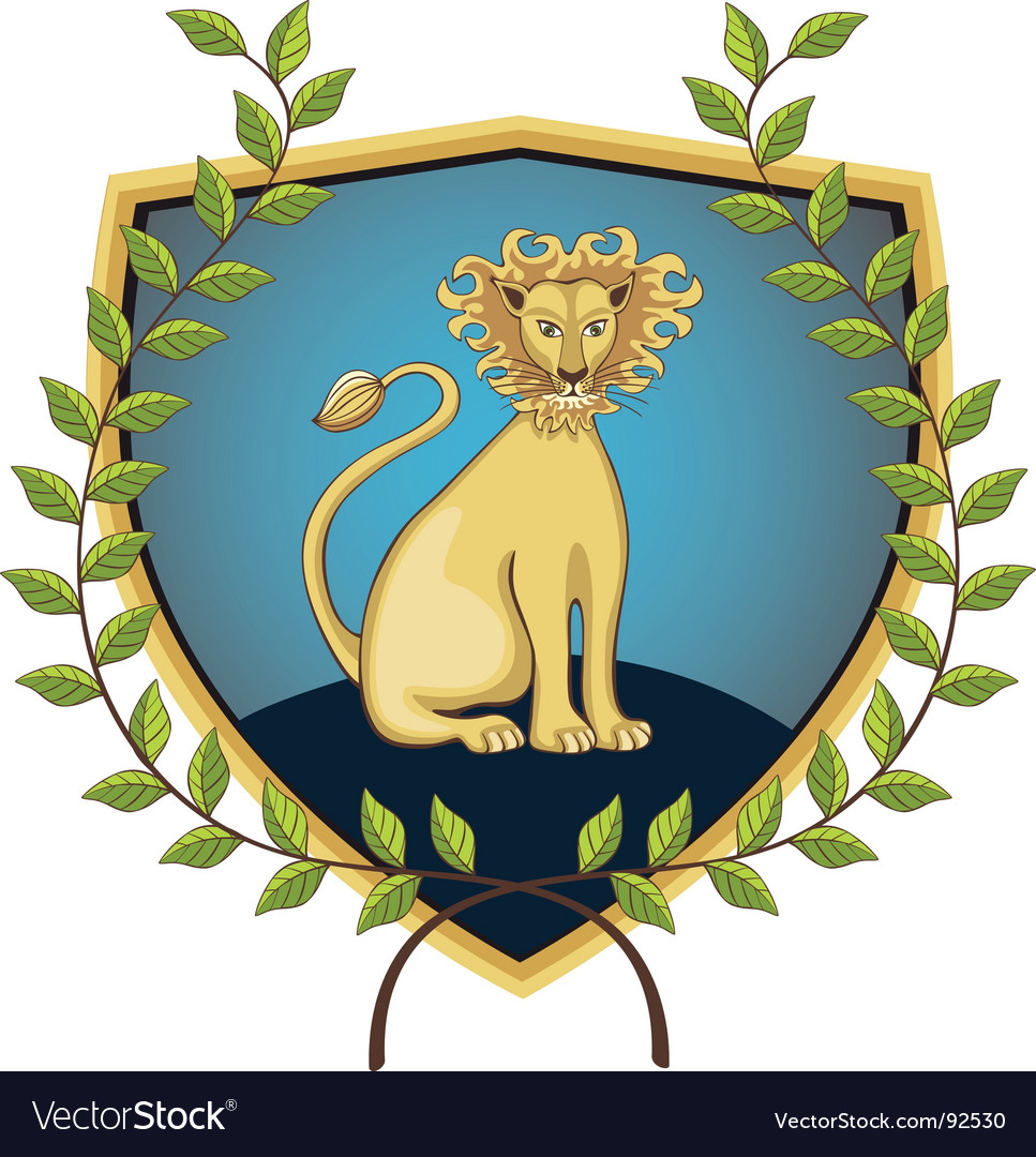 Lion in laurel wreath vector | Price: 1 Credit (USD $1)