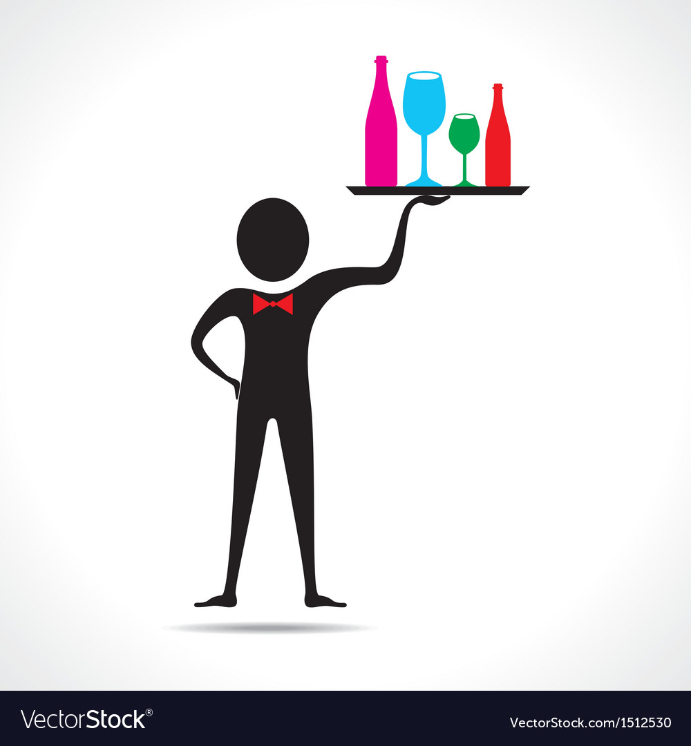 Man holding colorful wine glasses and bottles vector | Price: 1 Credit (USD $1)