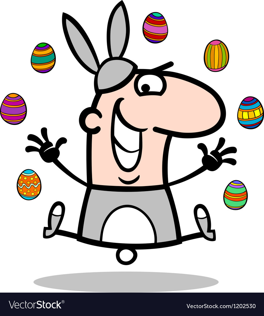 Man in easter bunny costume cartoon vector | Price: 1 Credit (USD $1)