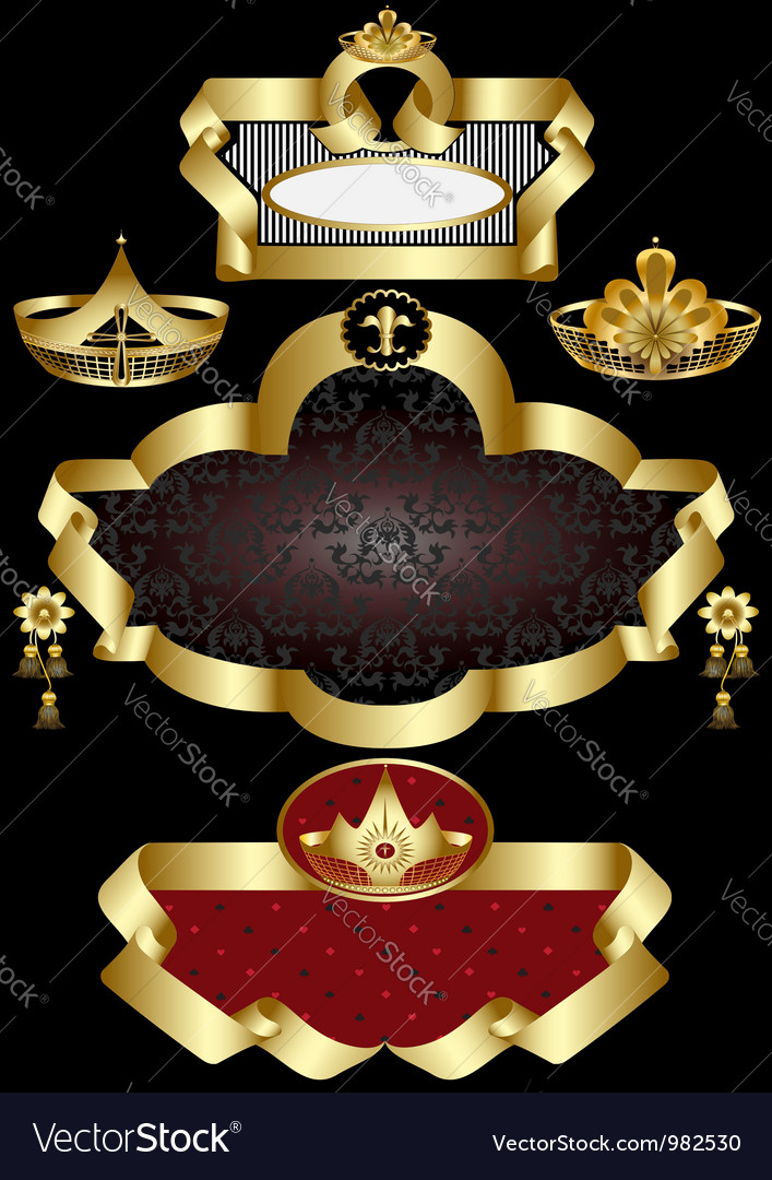 Old frame with gold detail vector | Price: 1 Credit (USD $1)