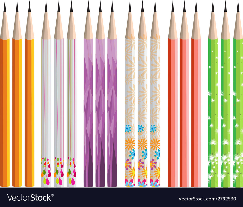 Pencils painted in different colors on white vector | Price: 1 Credit (USD $1)