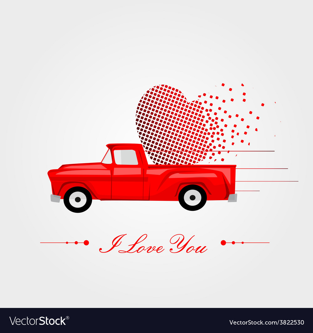 Pickup truck with lovely heart vector | Price: 1 Credit (USD $1)