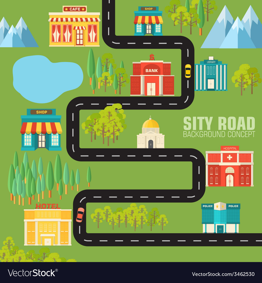 Road to the city on flat style background concept vector | Price: 1 Credit (USD $1)