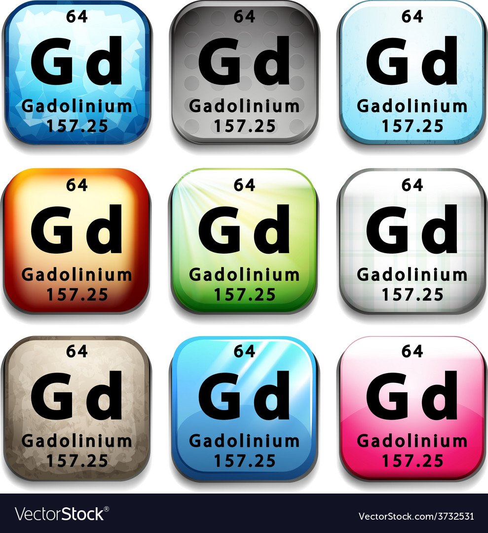 A button showing the element gadolinium vector | Price: 1 Credit (USD $1)
