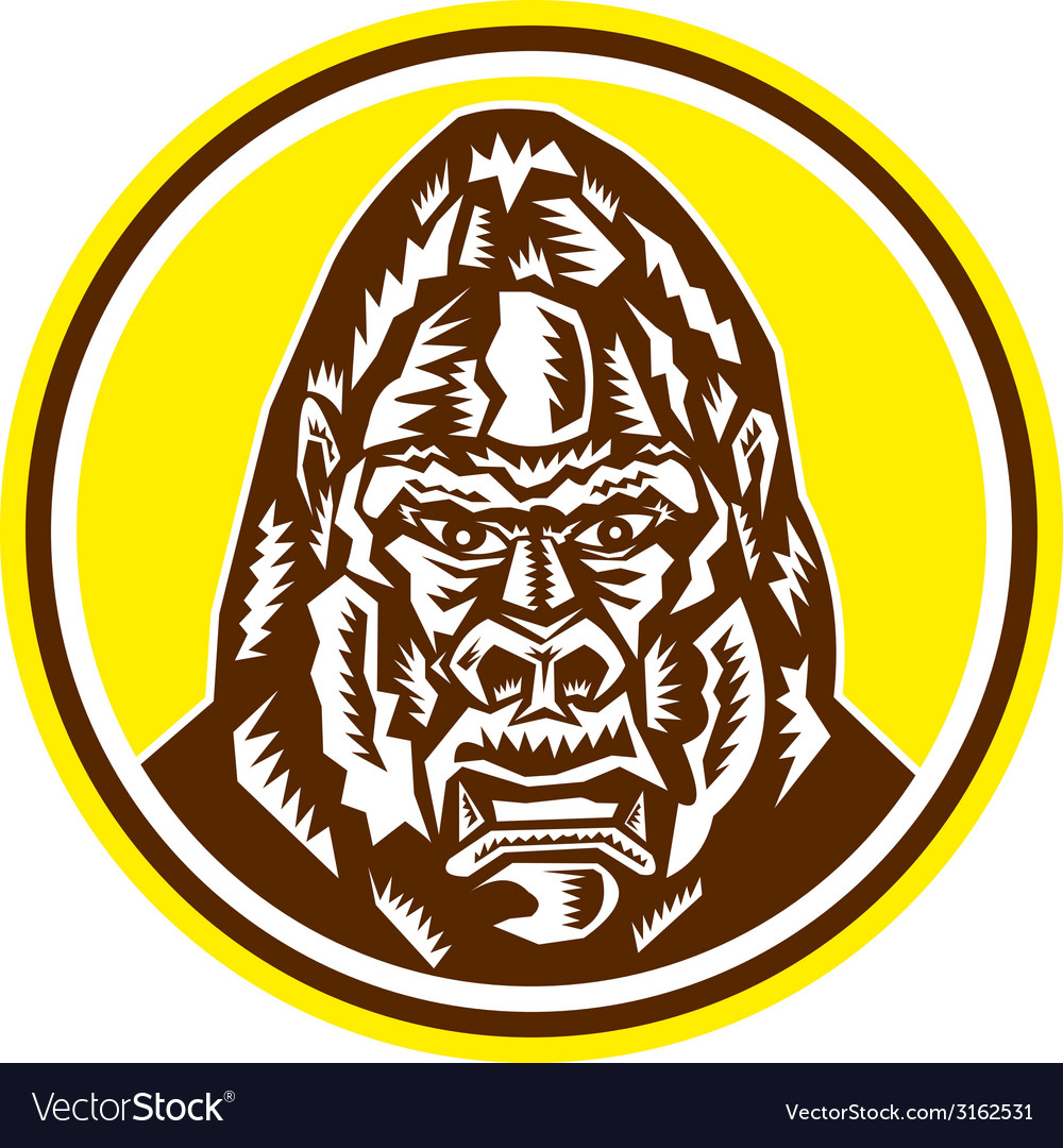 Angry gorilla head circle woodcut retro vector | Price: 1 Credit (USD $1)