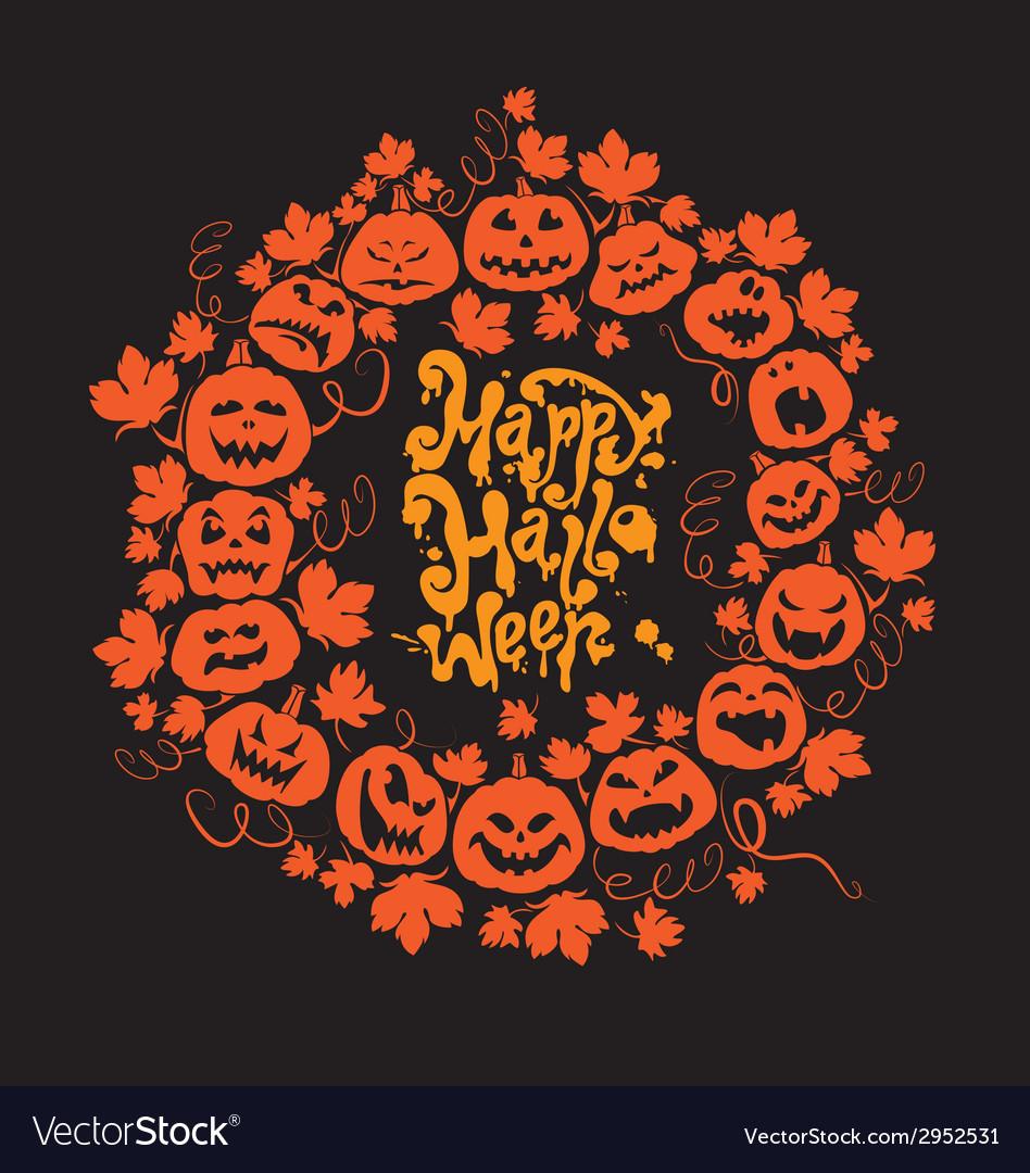 Halloween card - orange silhouette of pumpkins vector | Price: 1 Credit (USD $1)