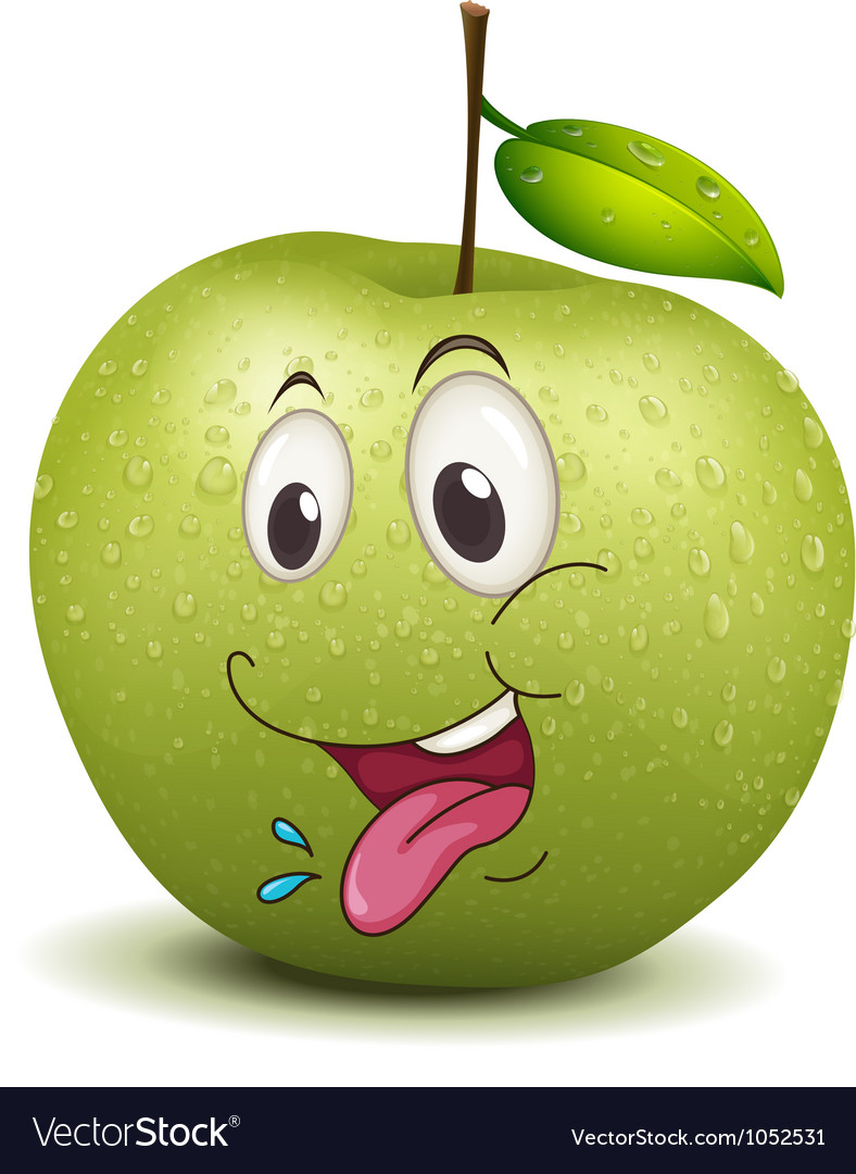 Hungry apple smiley vector | Price: 3 Credit (USD $3)
