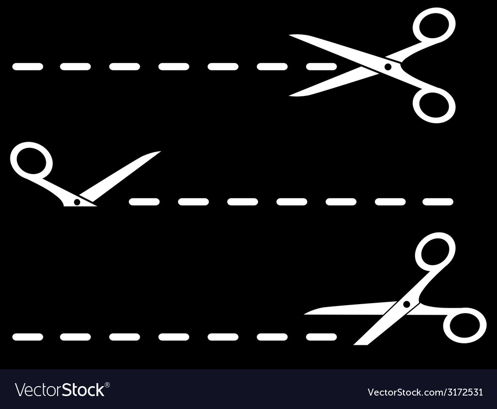 Isolated scissors with dotted line on black vector | Price: 1 Credit (USD $1)