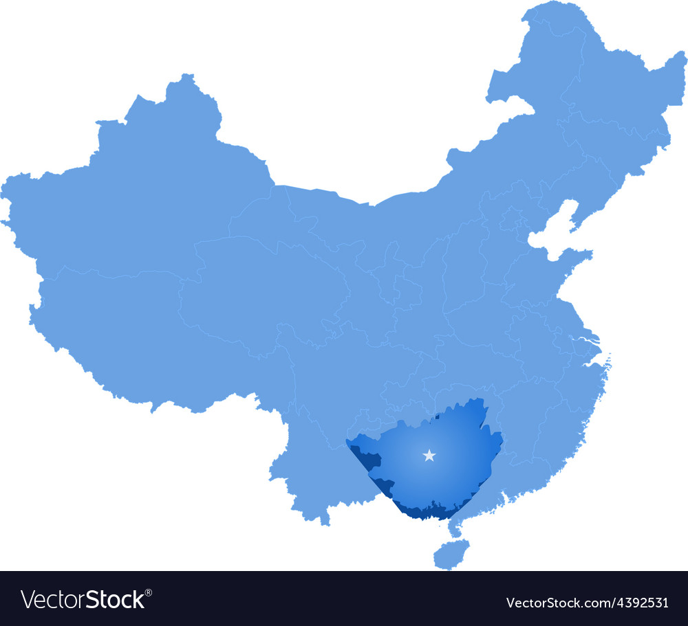 Map of peoples republic of china - guangxi zhuang vector | Price: 1 Credit (USD $1)