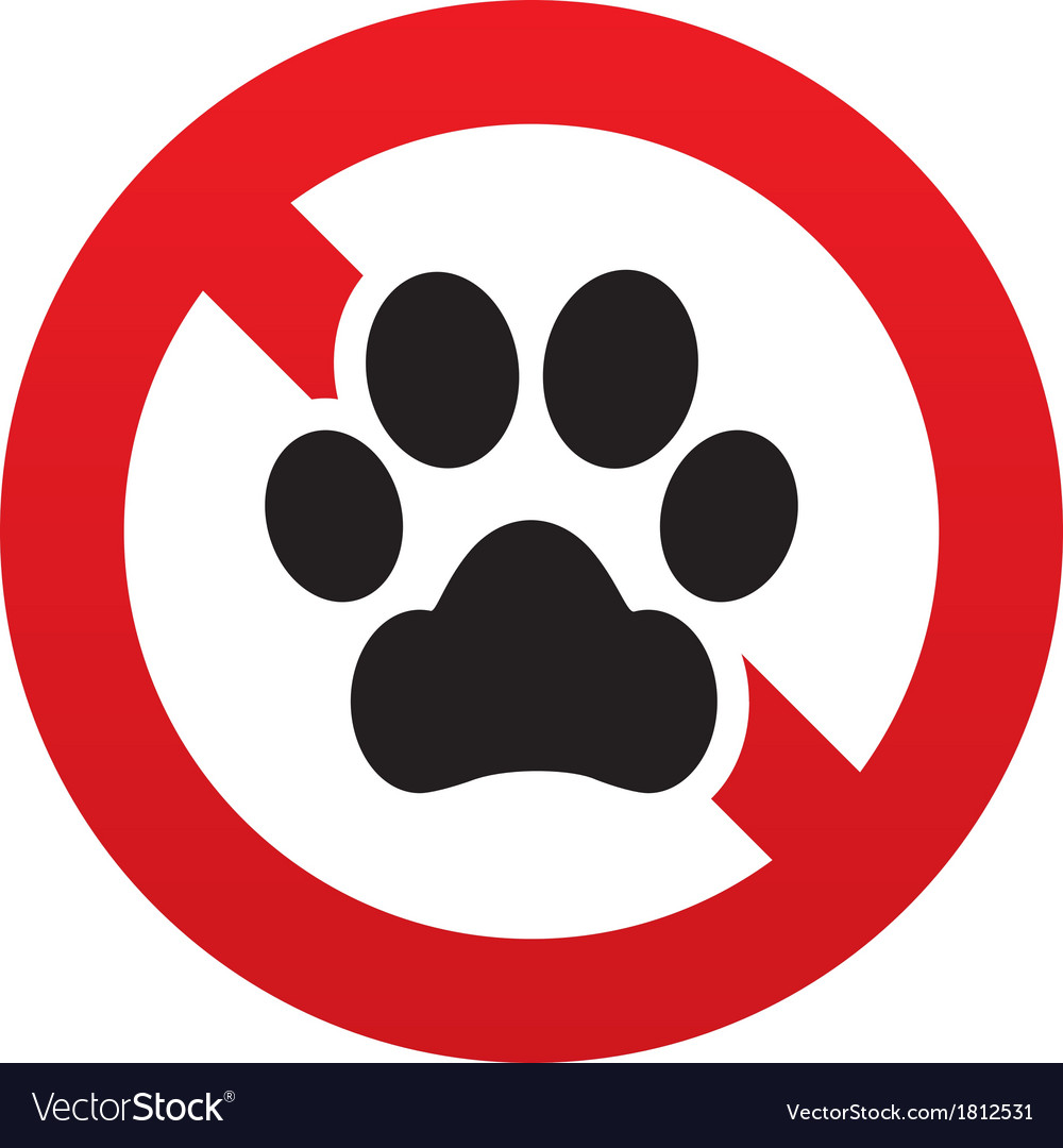 No dog paw icon pets symbol prohibition sign vector | Price: 1 Credit (USD $1)