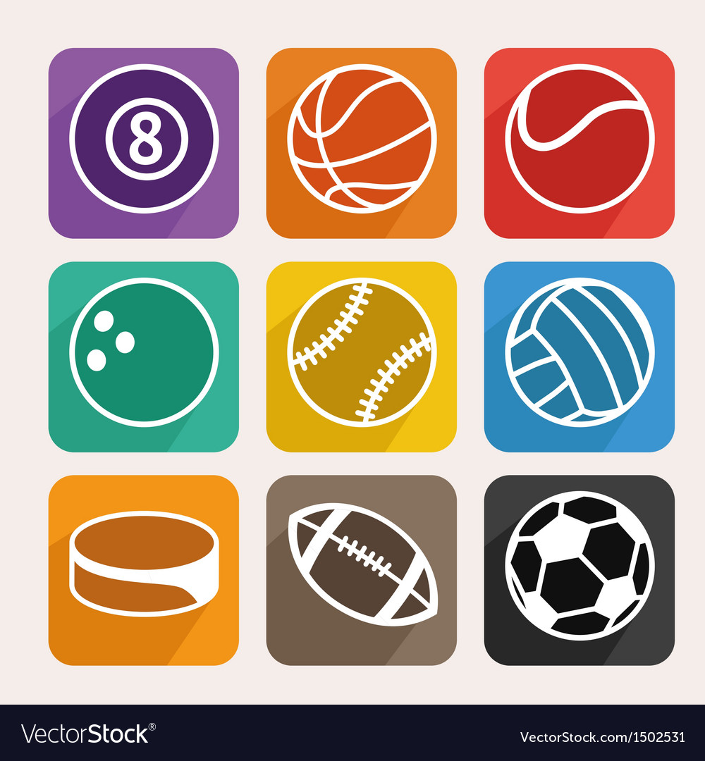 Set with sport balls vector | Price: 1 Credit (USD $1)