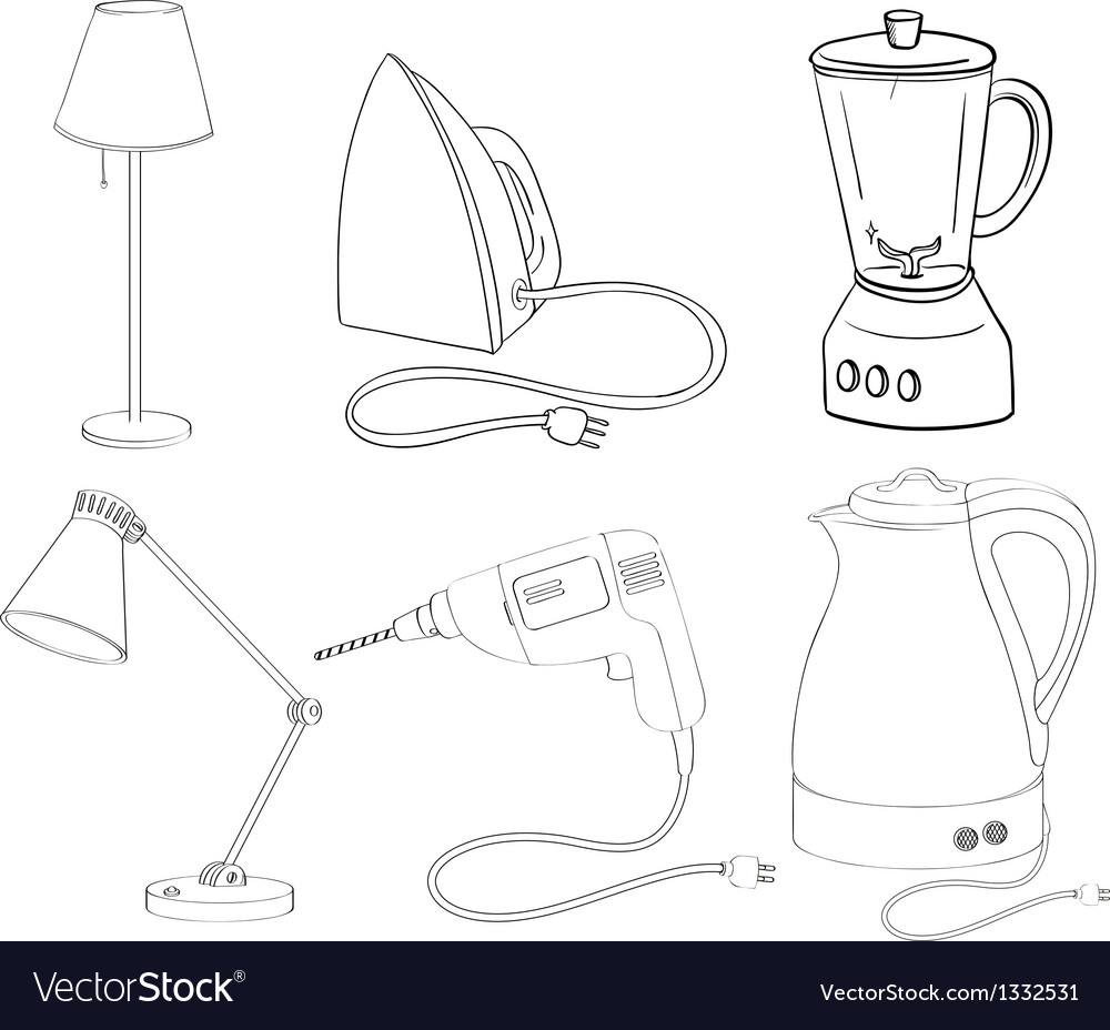 Silhouettes of appliances vector | Price: 1 Credit (USD $1)