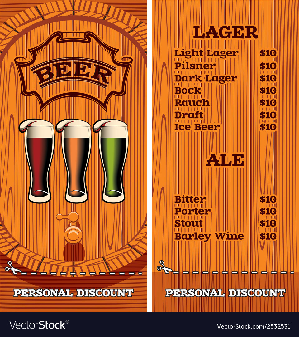 Template for the cover of the beer menu vector | Price: 1 Credit (USD $1)